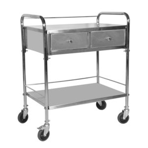 Medicine Trolley Stainless Steel, Medical Trolley with Two Drawers
